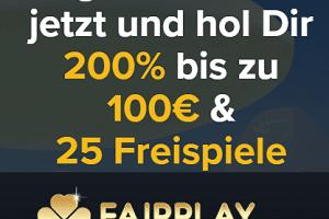 Fairplay Casino mit 25 Freispielen und lukrativen 200% Bonus