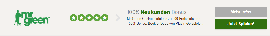Mr Green Casino anmelden
