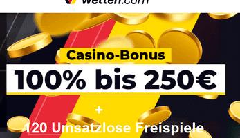 120 Freispiele ohne Umsatz mit dem Wetten.com Bonus