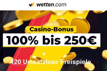 120 Freispiel ohne Umsatz plus 250 Euro Bonus