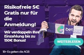 Betzest 5 Euro ohne Einzahlung Sportwetten