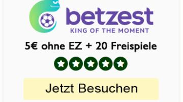 Betzest Bonus – 5€ gratis Geld Casino + 200% Bonus und 120 Freispiele