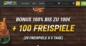 FastPay 100 Prozent Bonus und Freispiele