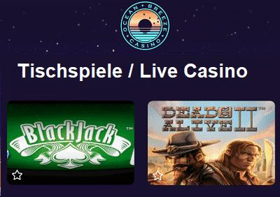 Ocean Breeze Casino Tischspiele
